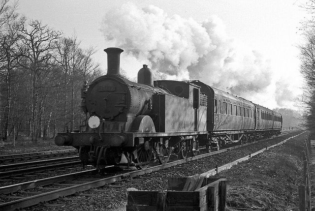 Arriving at Brockenhurst with a train from Ringwood, Hampshire, UK. Negative scan.