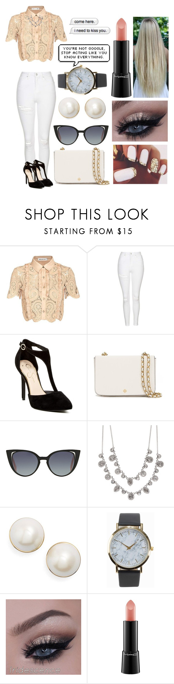 """""""Untitled #518"""" by love-torie on Polyvore featuring self-portrait, Topshop, Jessica Simpson, Tory Burch, Fendi, Givenchy, Kate Spade, NLY Accessories, MAC Cosmetics and Cotton Candy"""