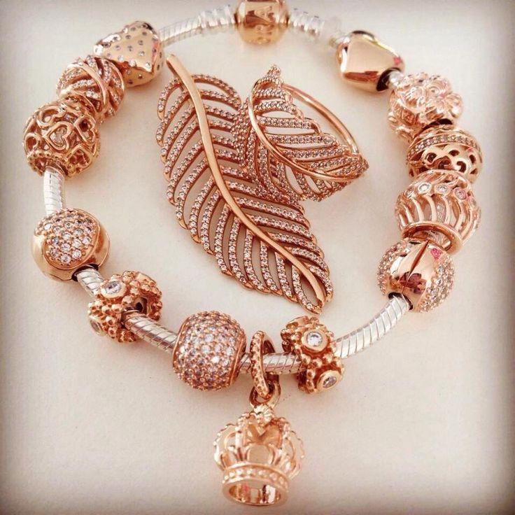 pandora rose gold charms and bracelet