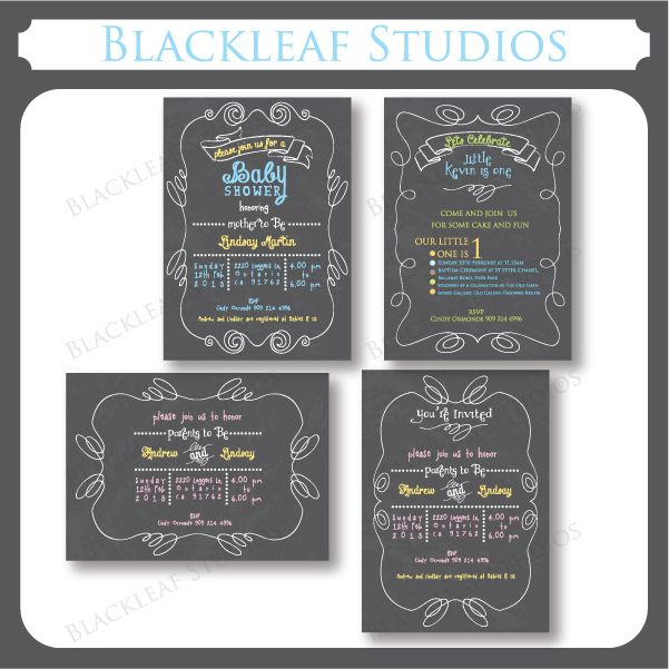 These simple Chalkboard themed invitation templates can be used as