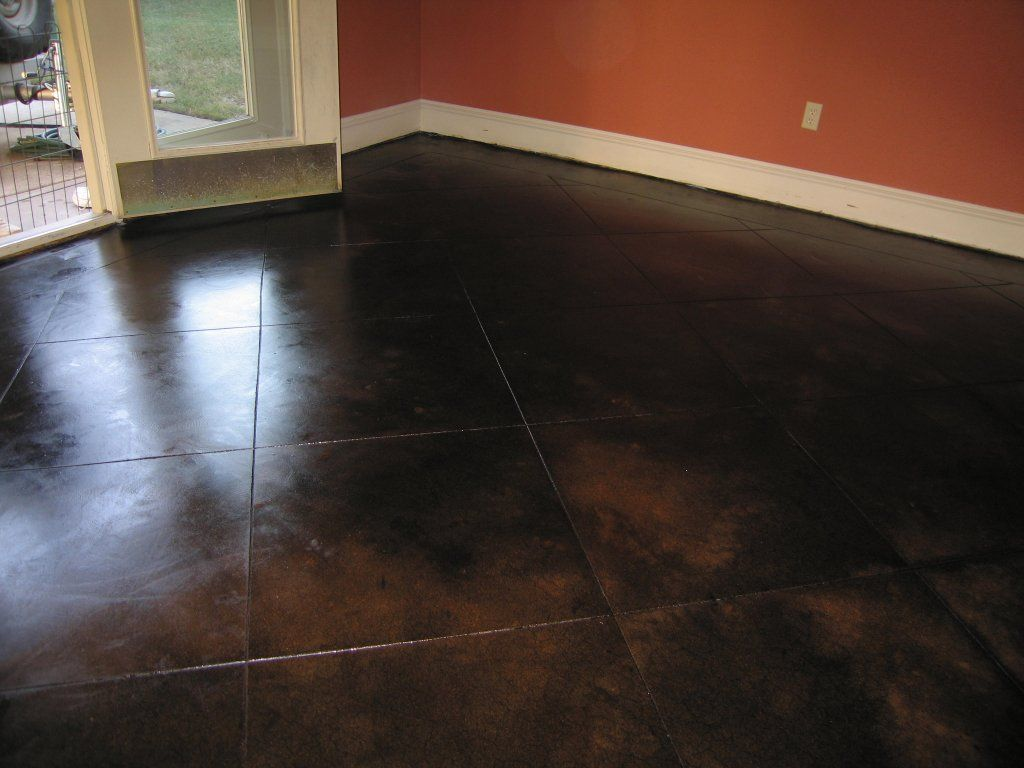 Dark stained concrete floor concrete dallas fort worth for Stained concrete floors