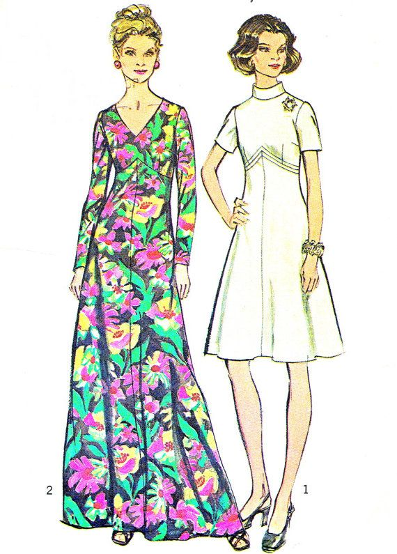 1970s Dress Pattern Simplicity 5850 Empire Waist A By