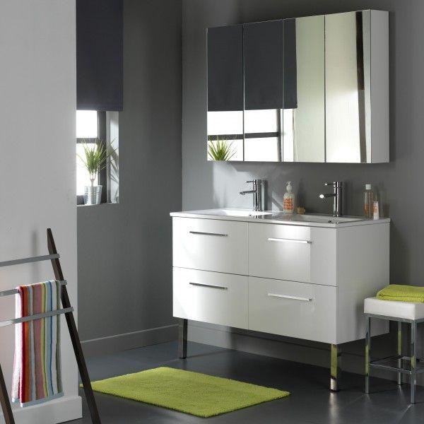 Meuble double vasque 4 tiroirs Blanc Laqué