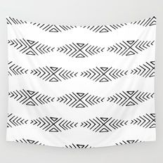 mudcloth 11 minimal textured black and white pattern home decor minimalist beach Wall Tapestry