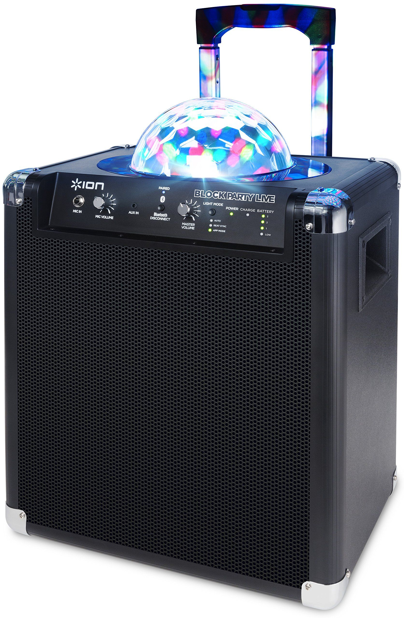 ion audio block party live 50 watt portable bluetooth speaker system with party lights wheels handle [ 1673 x 2560 Pixel ]