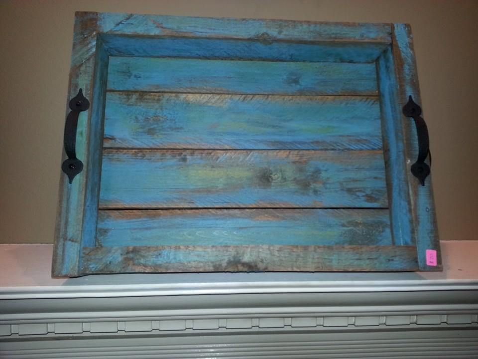Wood Pallets This bright blue with teal hues serving tray has 2 ...