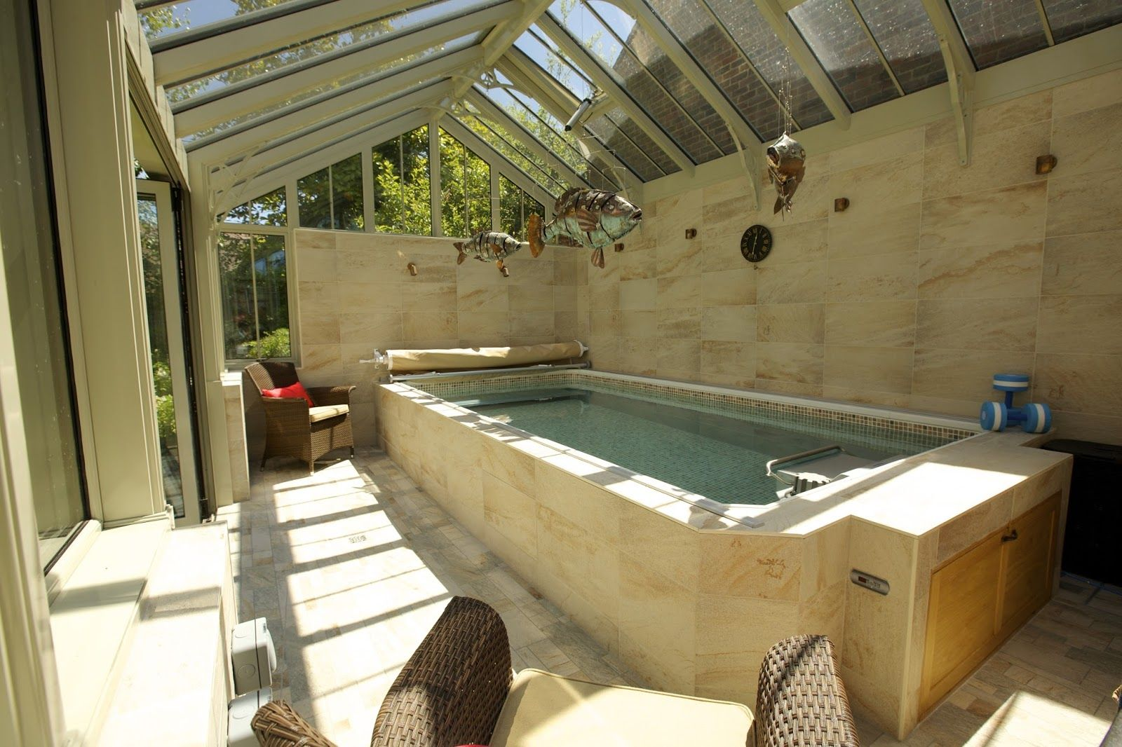 This conservatory endless pool installation by home for Best home swimming pools