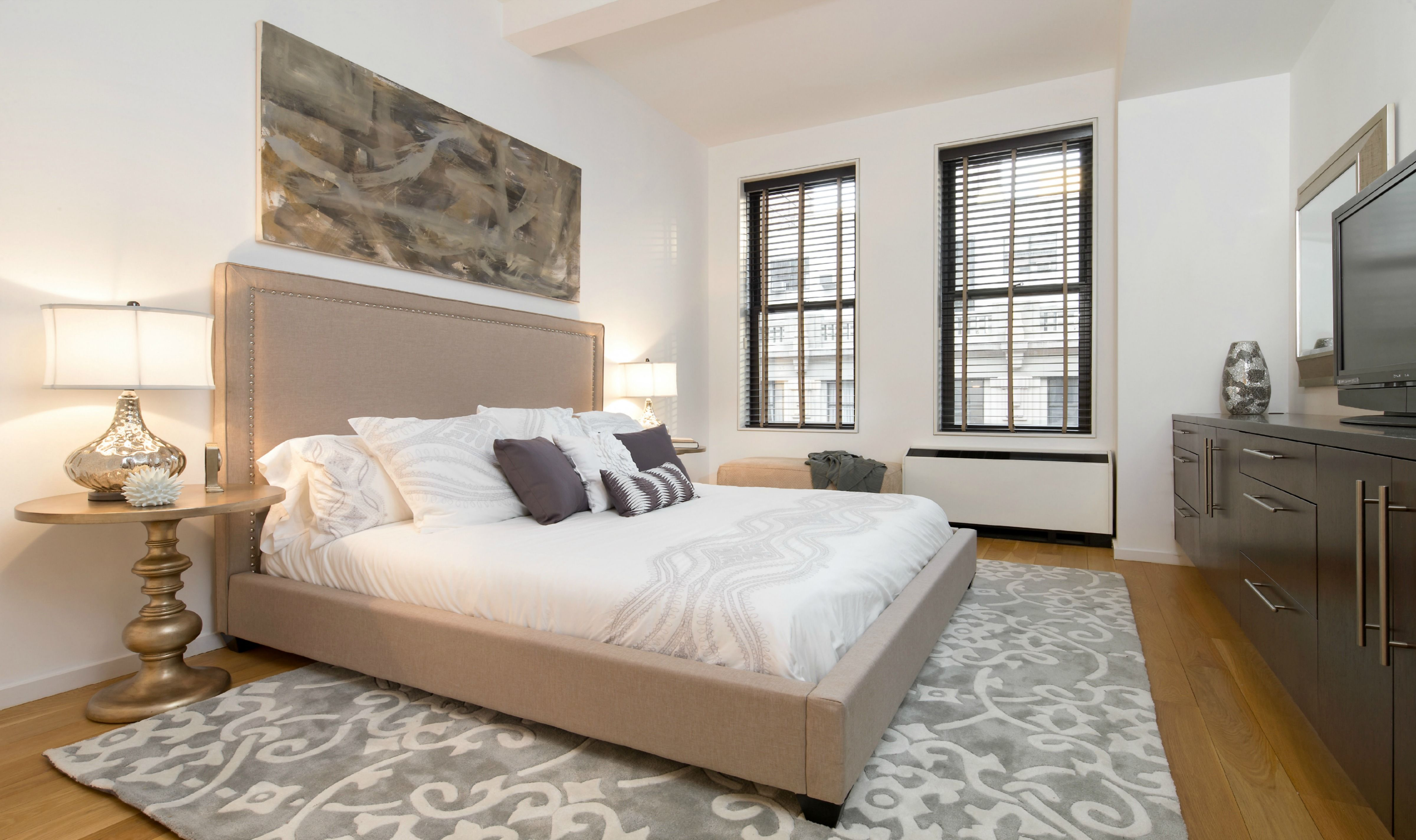 Effortless luxury for this Master Bedroom. NYC Staging by