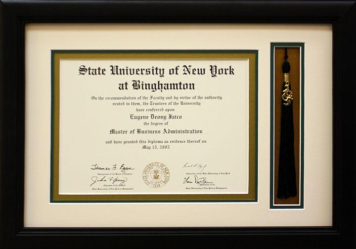 The University of New York at Binghamton diploma framed with tassel ...