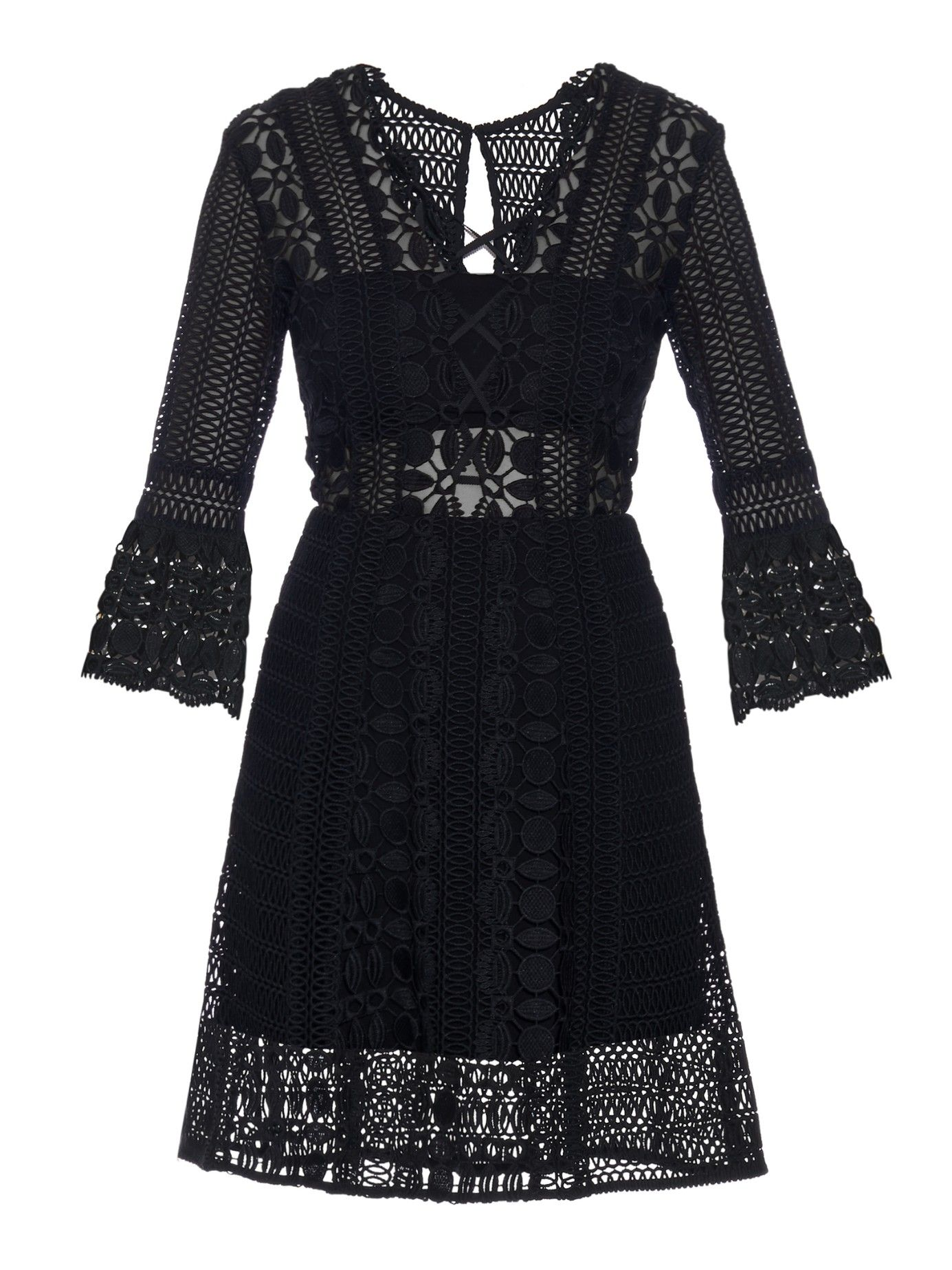 Black and white dresses for wedding guests  Laceup Aline dress  Selfportrait  MATCHESFASHIONCOM US