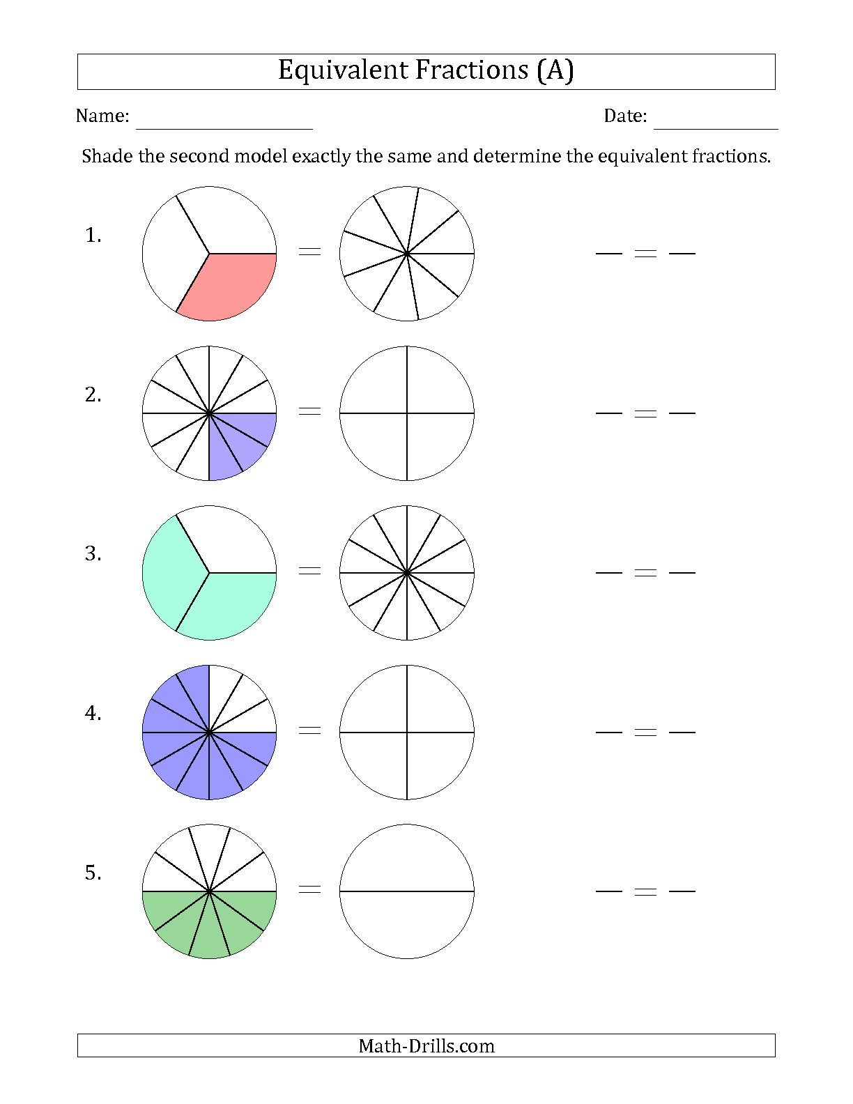 The Equivalent Fractions Models A math worksheet from the – Fraction Worksheets for Second Grade