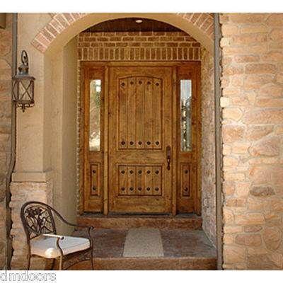 Rustic Southwest Entry Knotty Alder Wood Door 36 X80 W 14 Half Lites On Ebay