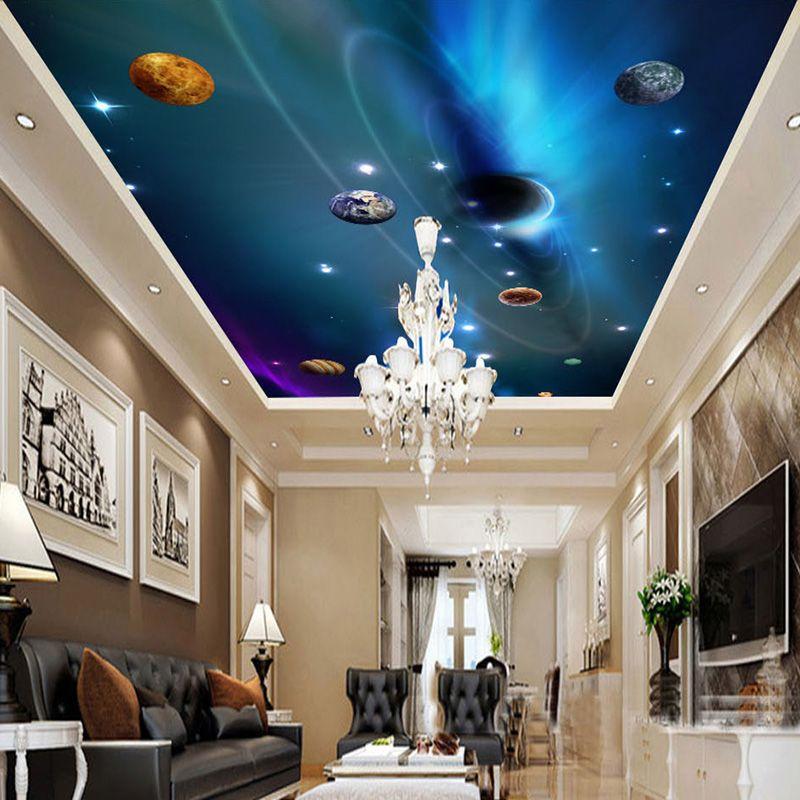 Custom 3d ceiling wallpaper mural space solar system for Space wallpaper mural