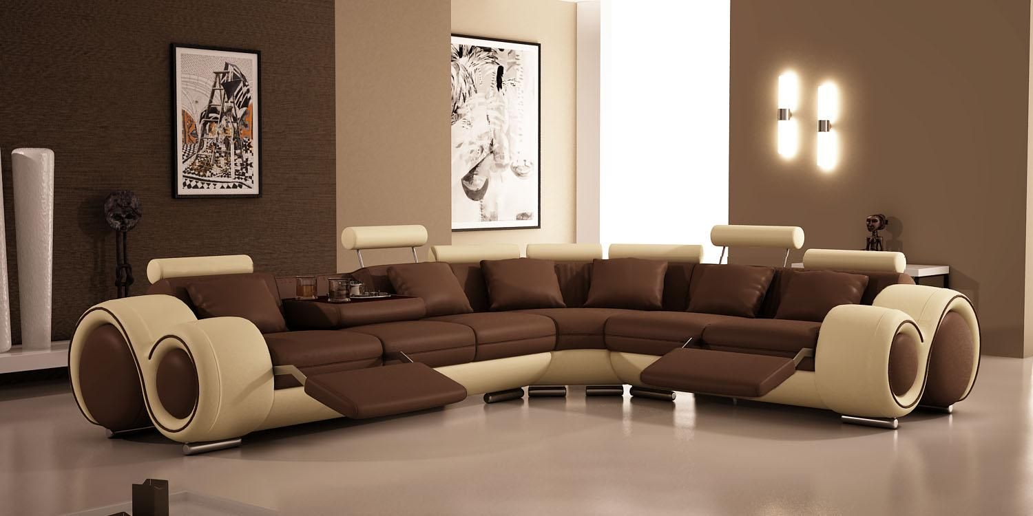 VIG Furniture 4087 Modern Bonded Leather Sectional Sofa With Recliners    Home   Furniture   Living Room Furniture   Sofas U0026 Loveseats
