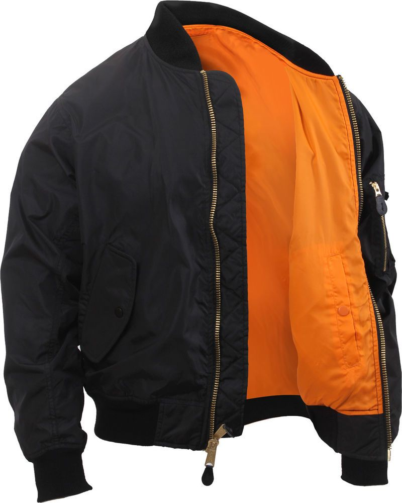 Black Lightweight Air Force MA-1 Reversible Bomber Coat Flight Jacket   Rothco  LightweightMA1FlightJacket 1434b67284e