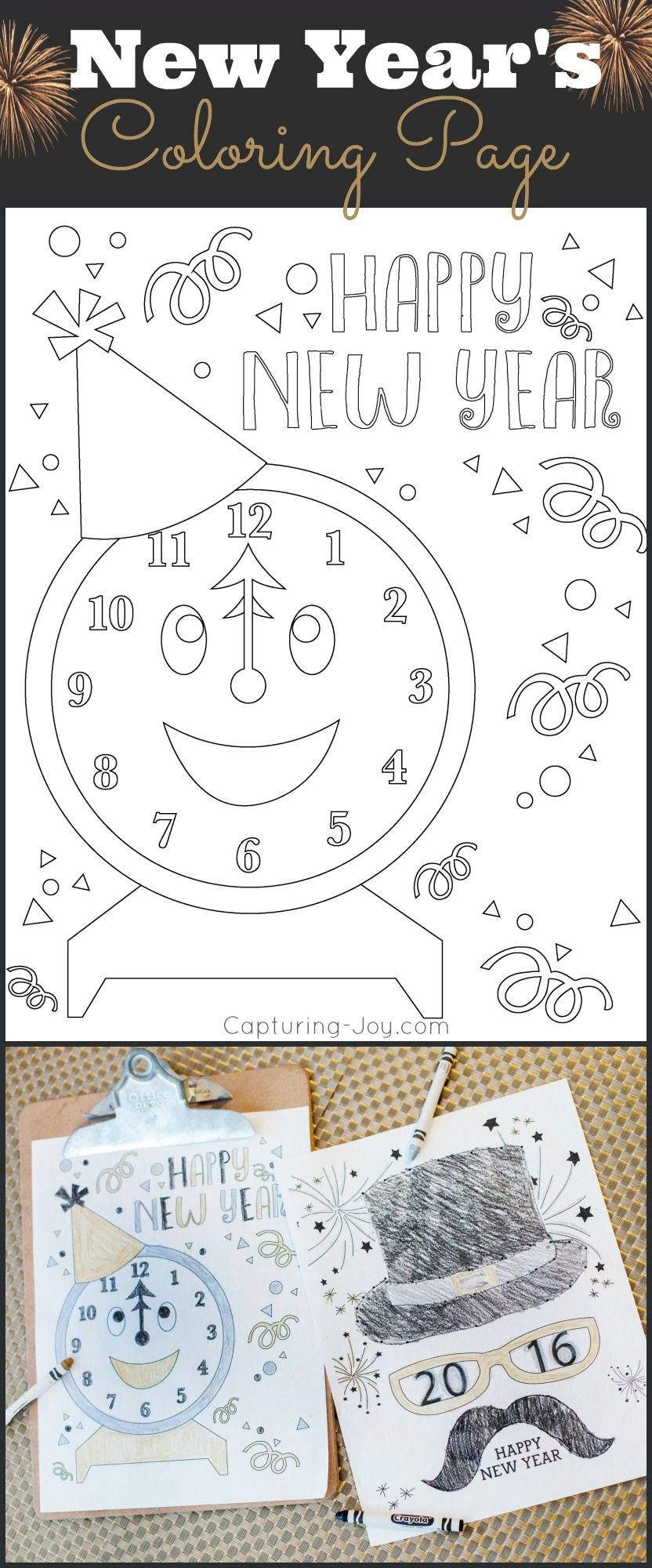 Happy Holidays: New Years Eve Coloring Pages | Count, Nye and Holidays