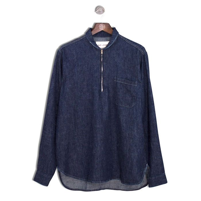 OUR LEGACY Shawl Zip Shirt 7 oz | Blue Denim