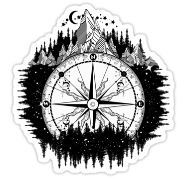 Mountain antique compass and wind rose tattoo art. Adventure, travel, outdoors, symbol. Tattoo for travelers, climbers, hikers. Compass in night forest tattoo boho style, t-shirt design • Also buy this artwork on stickers, apparel, phone cases, and more.