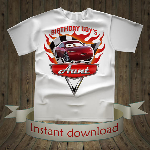 218c3f6d8 Disney Cars Birthday boy Aunt shirt Lightning McQueen Tee Tees T-Shirt Cars  Printables tshirt iron o