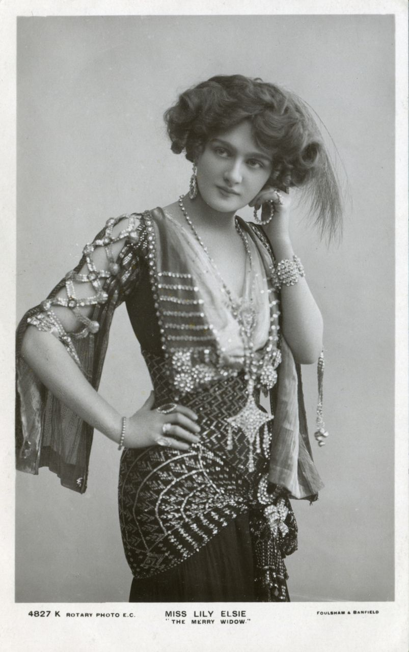 Miss Lily Elsie Edwardian 1886 1962 In The Merry Widow Wearing A Dress Withuit