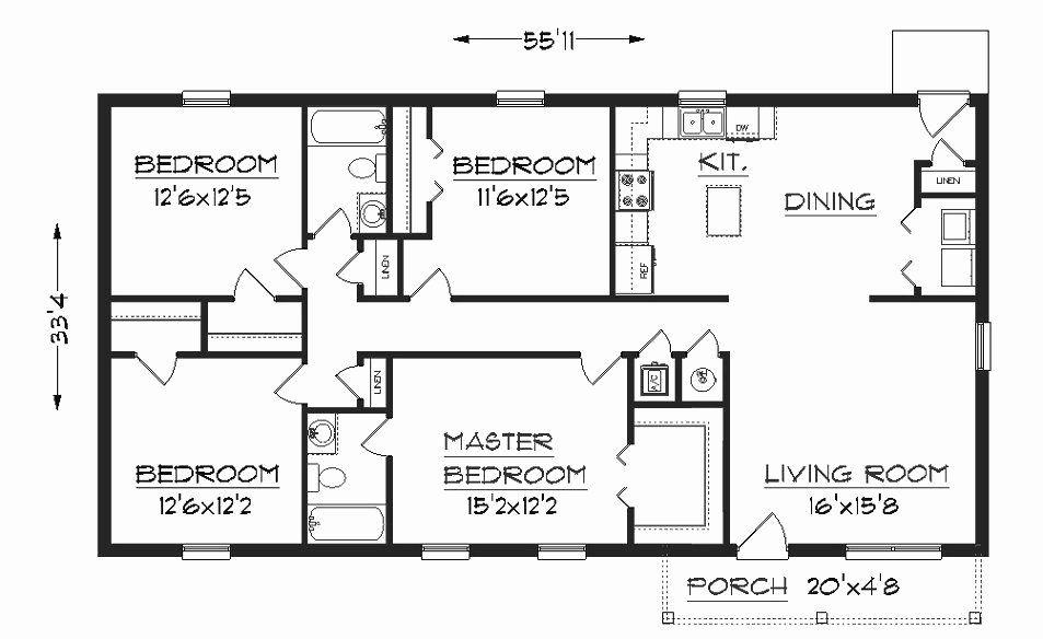 4 Bedroom Rectangular House Plans Unique Simple E Floor House Plans In 2020 One Floor House Plans Cottage Floor Plans Free House Plans
