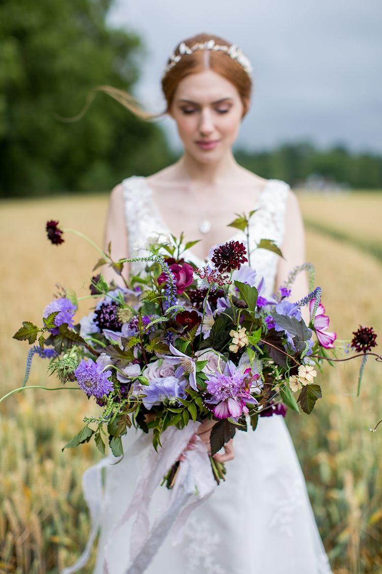 Natural u ethereal purple floral wedding bouquet pinterest