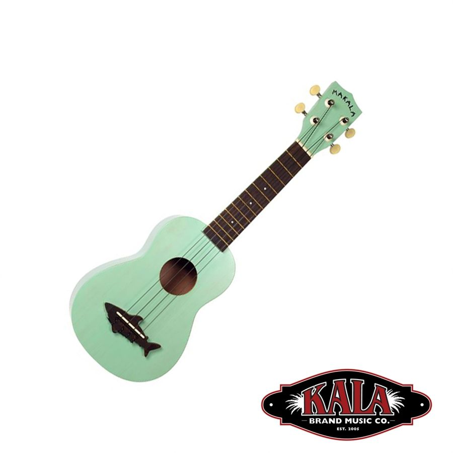 Riff City Guitar - Kala Makala Soprano Ukulele with Shark Bridge - Surf Green, $46.99 (http://www.riffcityguitaroutlet.com/kala-makala-ukulele-with-shark-bridge-surf-green/)