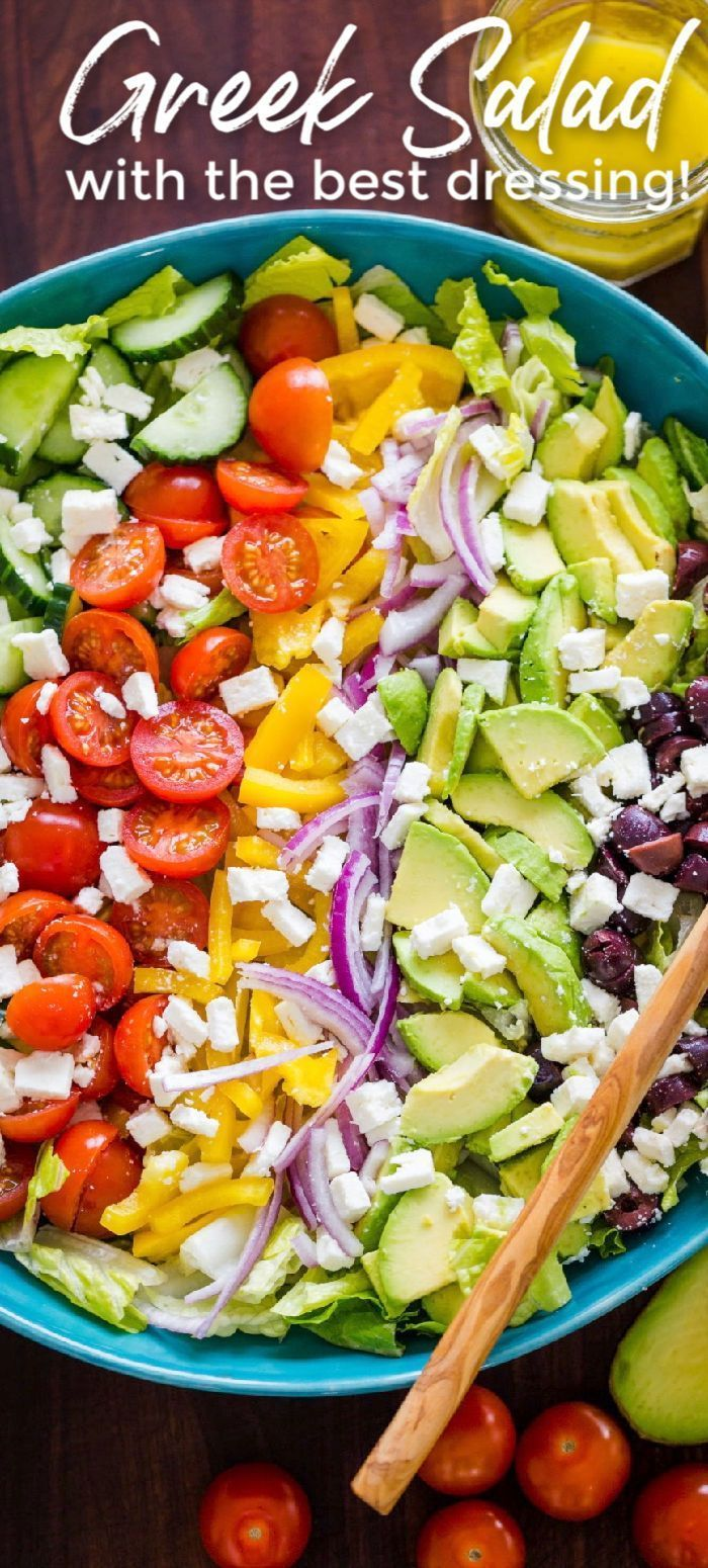 The BEST Greek Salad with Lemon Greek Salad Dressing - you will want it on all of your salads! Load