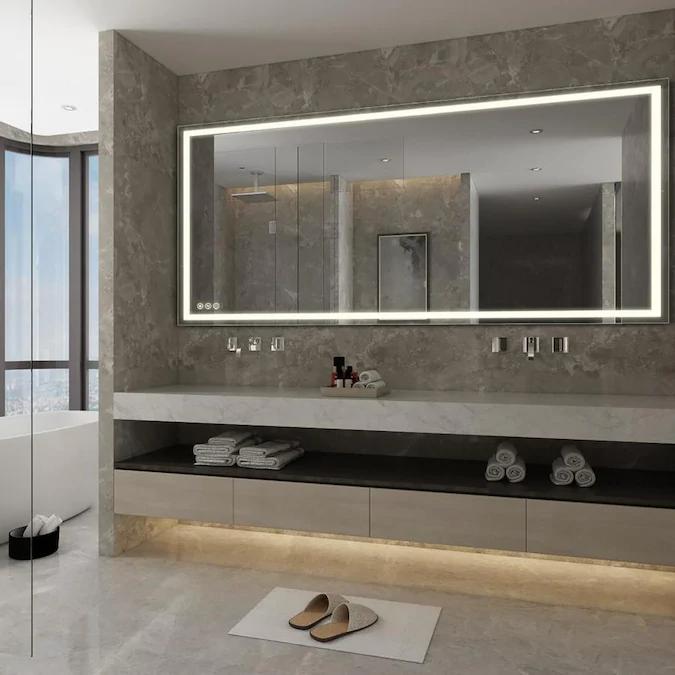 Casainc Frameless Led Bathroom Mirror 72 In Lighted Led Fog Free Siver Rectangular Frameless Bathroom Mirror Lowes Com Modern Bathroom Mirrors Led Mirror Bathroom Bathroom Vanity Mirror