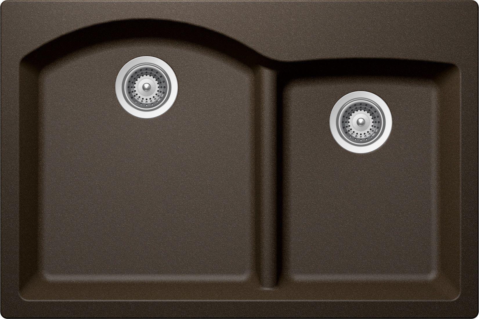 Edo 33 X 22 Cristadur 70 30 Topmount Double Bowl Kitchen Sink