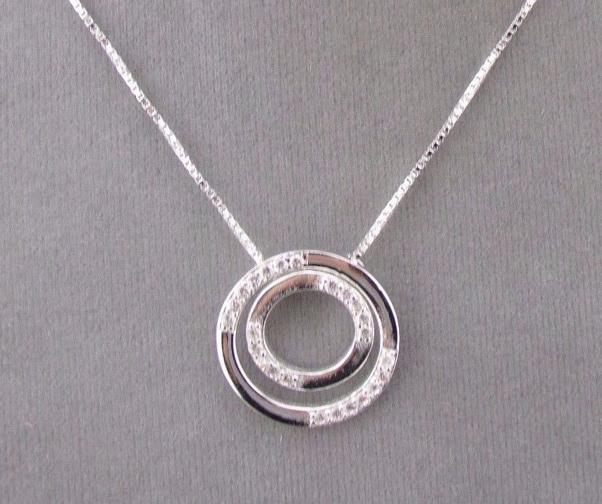 925 Sterling Silver Circle Slide Pendant Necklace Sparkly Cubic Zirconia NEW #unbranded #Pendant