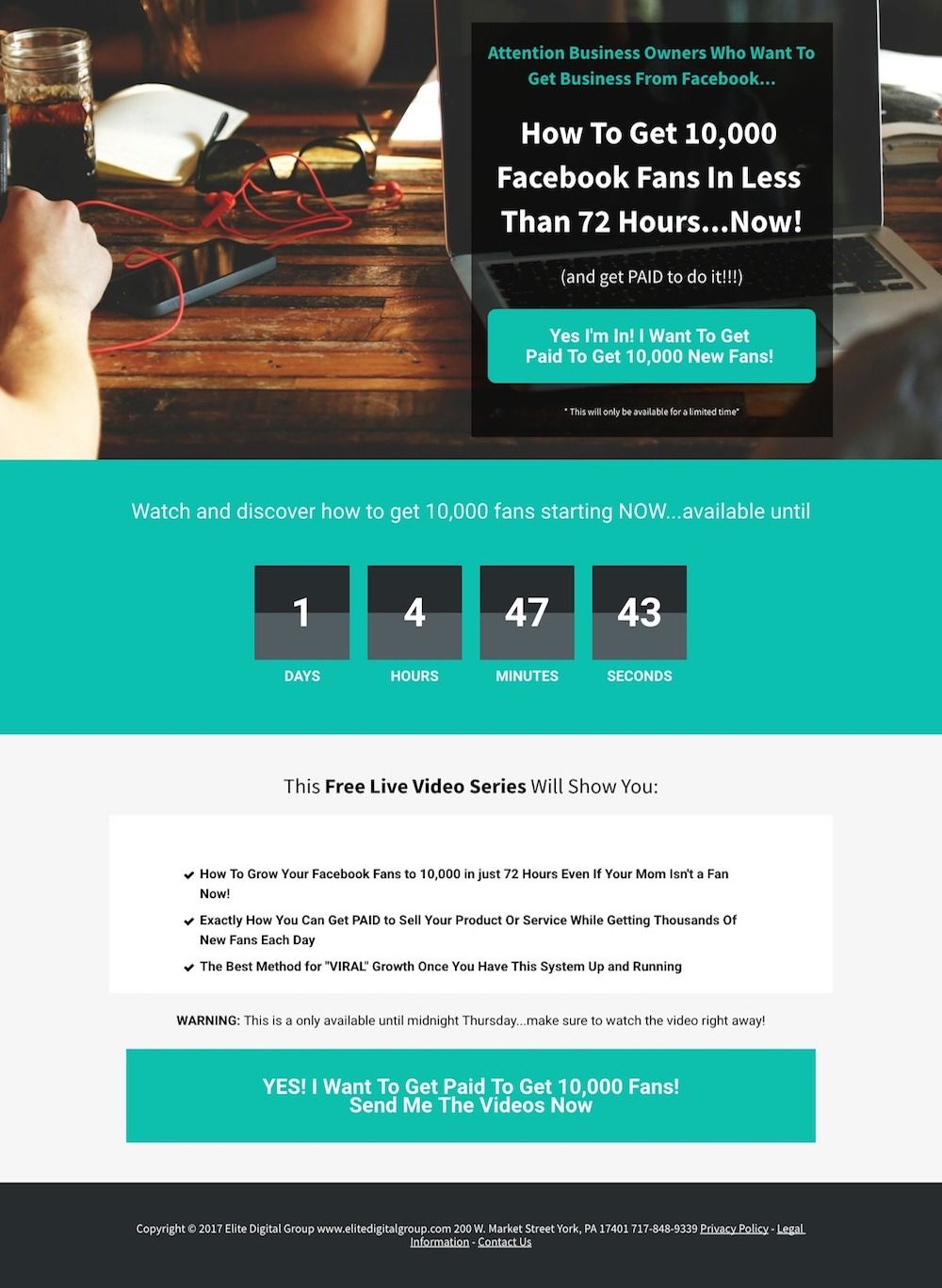Landing page for Get 10 000 Facebook Fans in 72 Hours