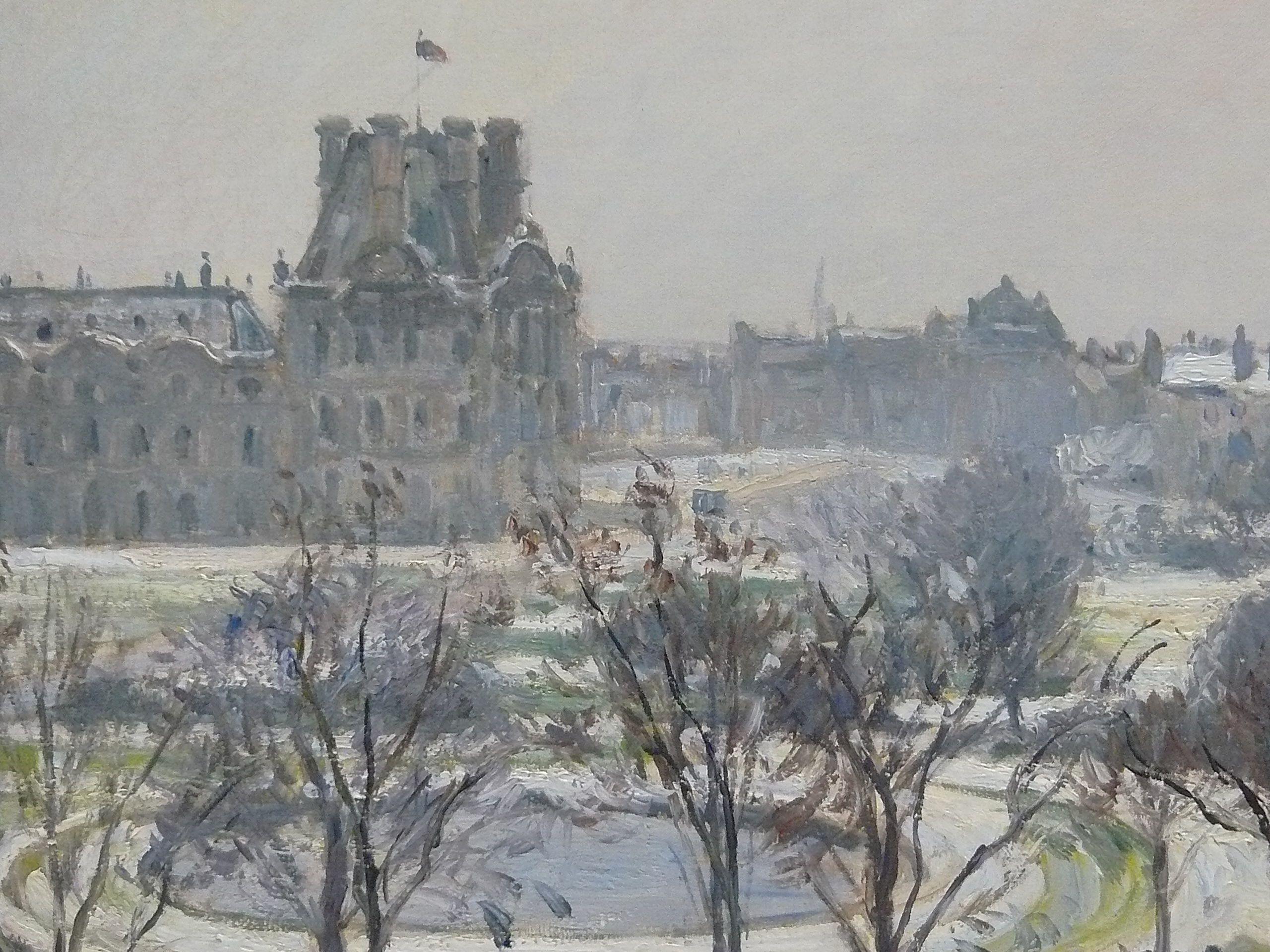 Peintres Ecole De Rouen pissarro camille - jardin des tuileries, effet de neige