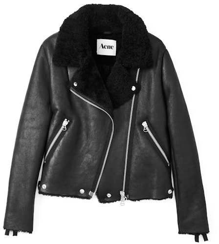 acne rita shearling biker jacket