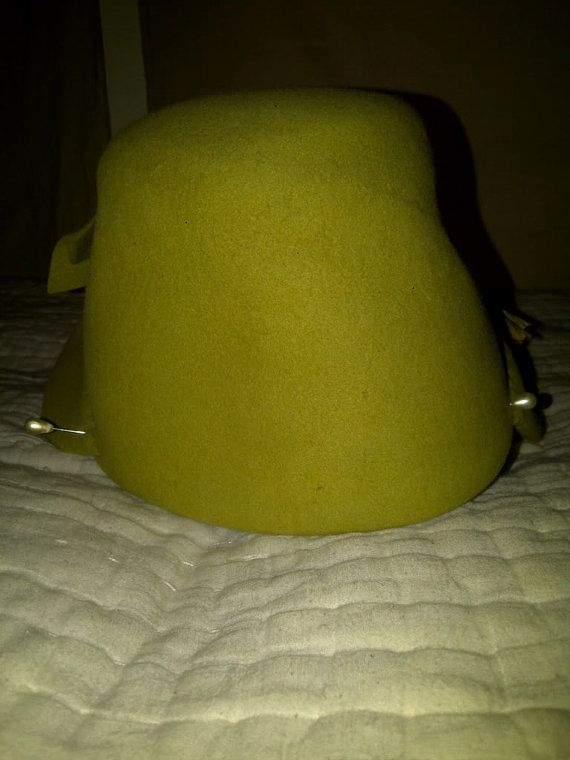 fccee6e6bcafc YellowGreen Felt Duck Bill Hat with by MissNathalieVintage on Etsy
