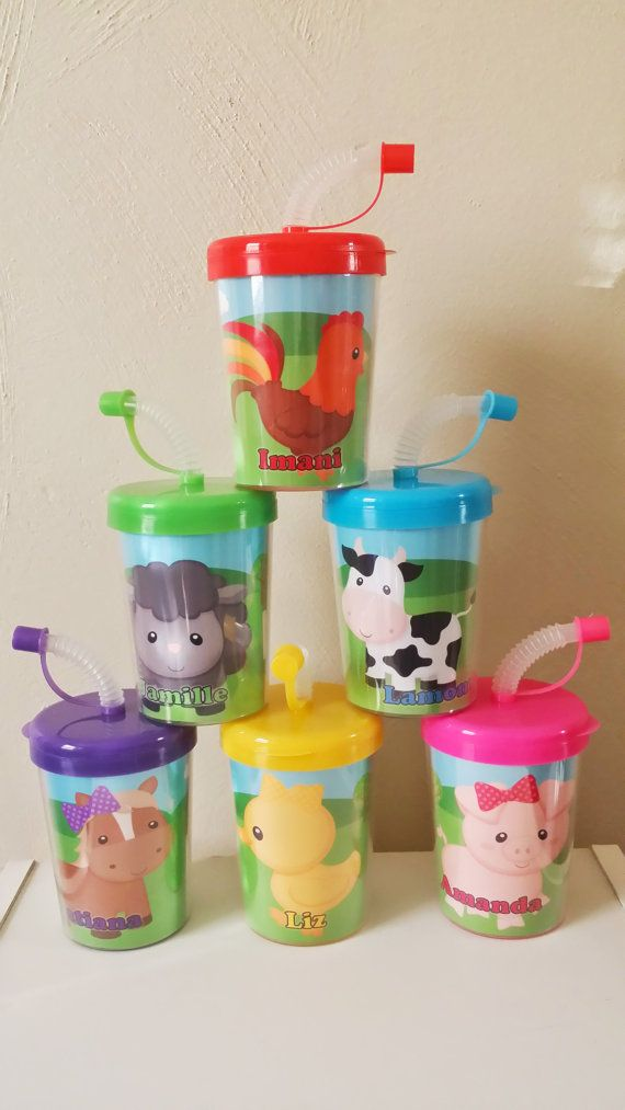 Farm Animals Personalized Party Favor Cups Birthday Treat Cups Cow