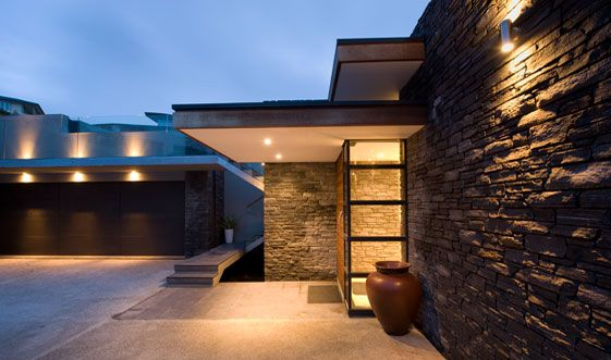 Modern House Design Concrete Stone Aluminum Cladding Ideas - Modern exterior house design with stone