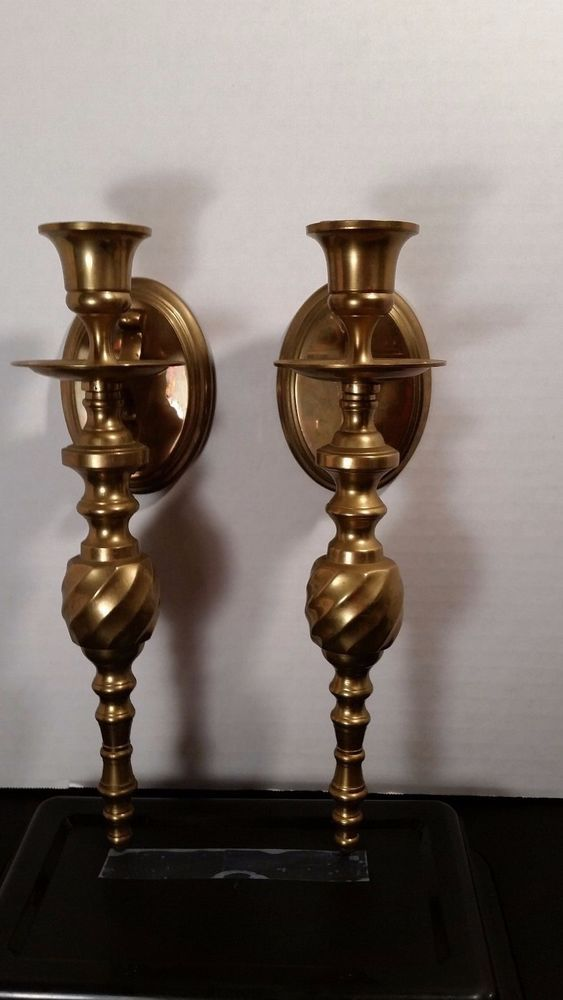 Details About Vintage Brass Wall Sconce Candle Holder Set