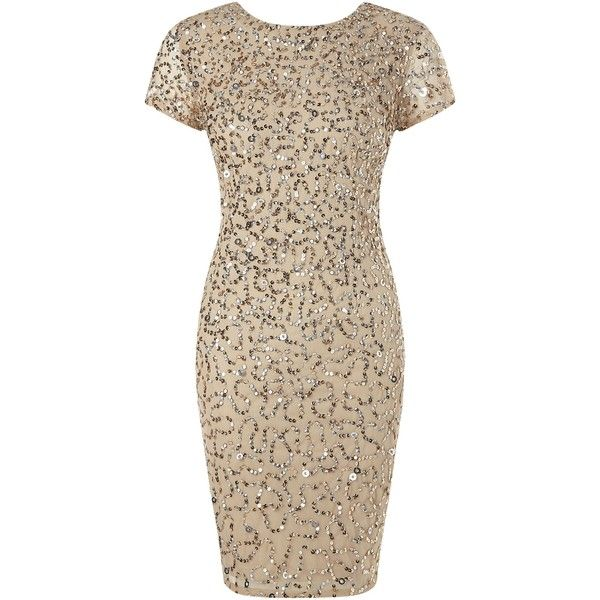 Adrianna Papell Shutter Sleeve Beaded Cocktail Dress Champagne Silver Metallic Cocktail Dresses Beaded Cocktail Dress Silver Cocktail Dress