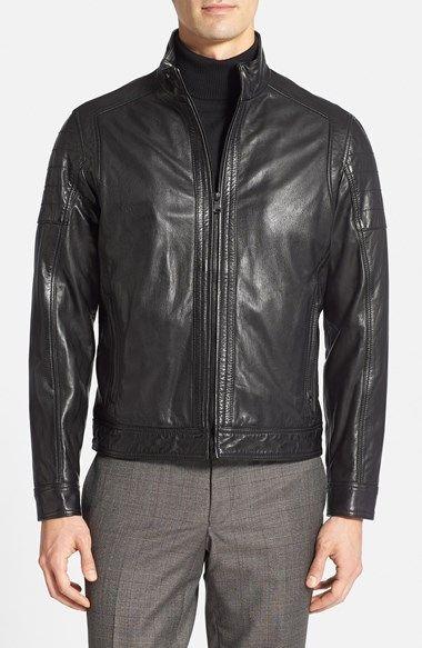 BOSS HUGO BOSS 'Leko' Goatskin Leather Moto Jacket available at #Nordstrom