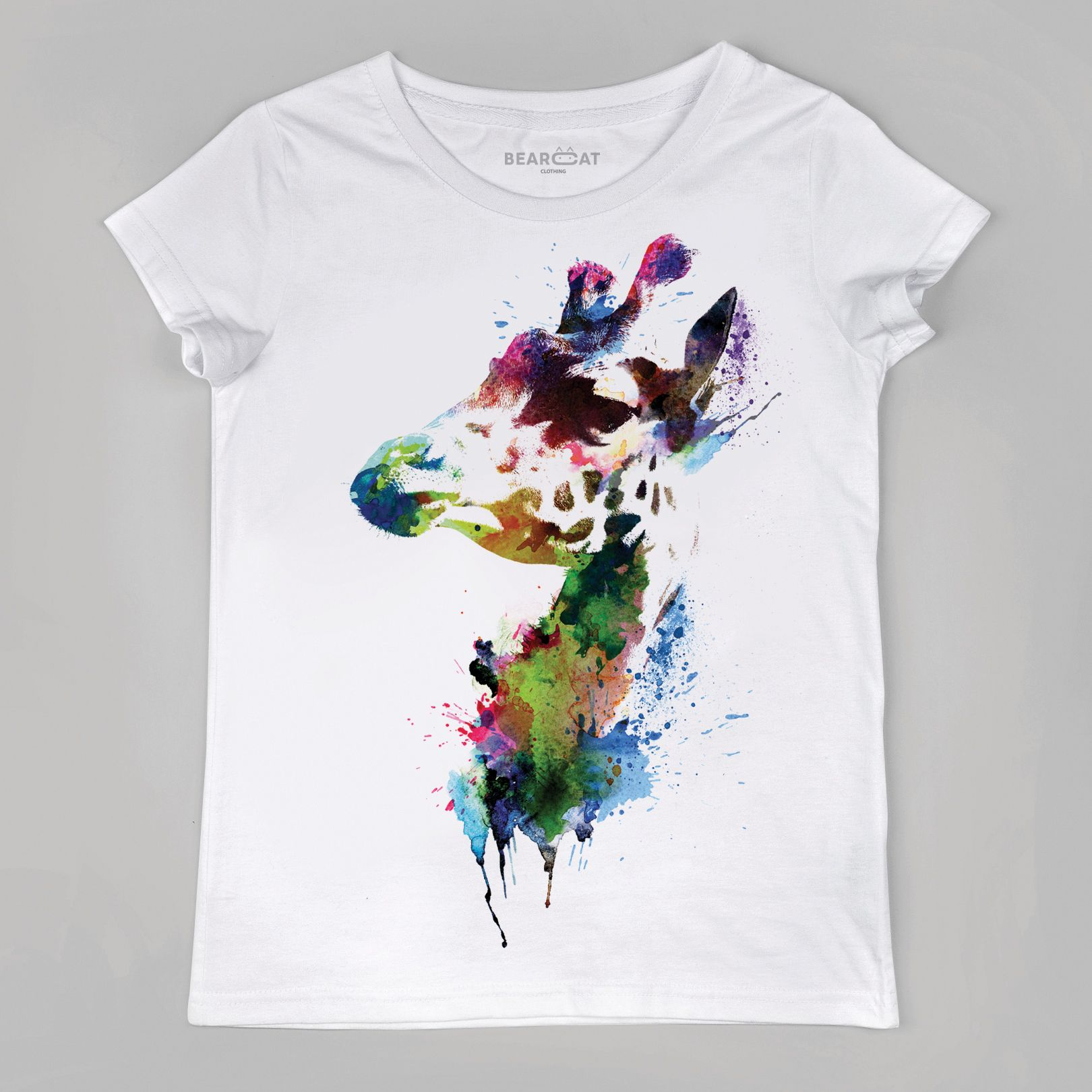 Giraffe Women S T Shirt Giraffe Head Print Giraffe Watercolor