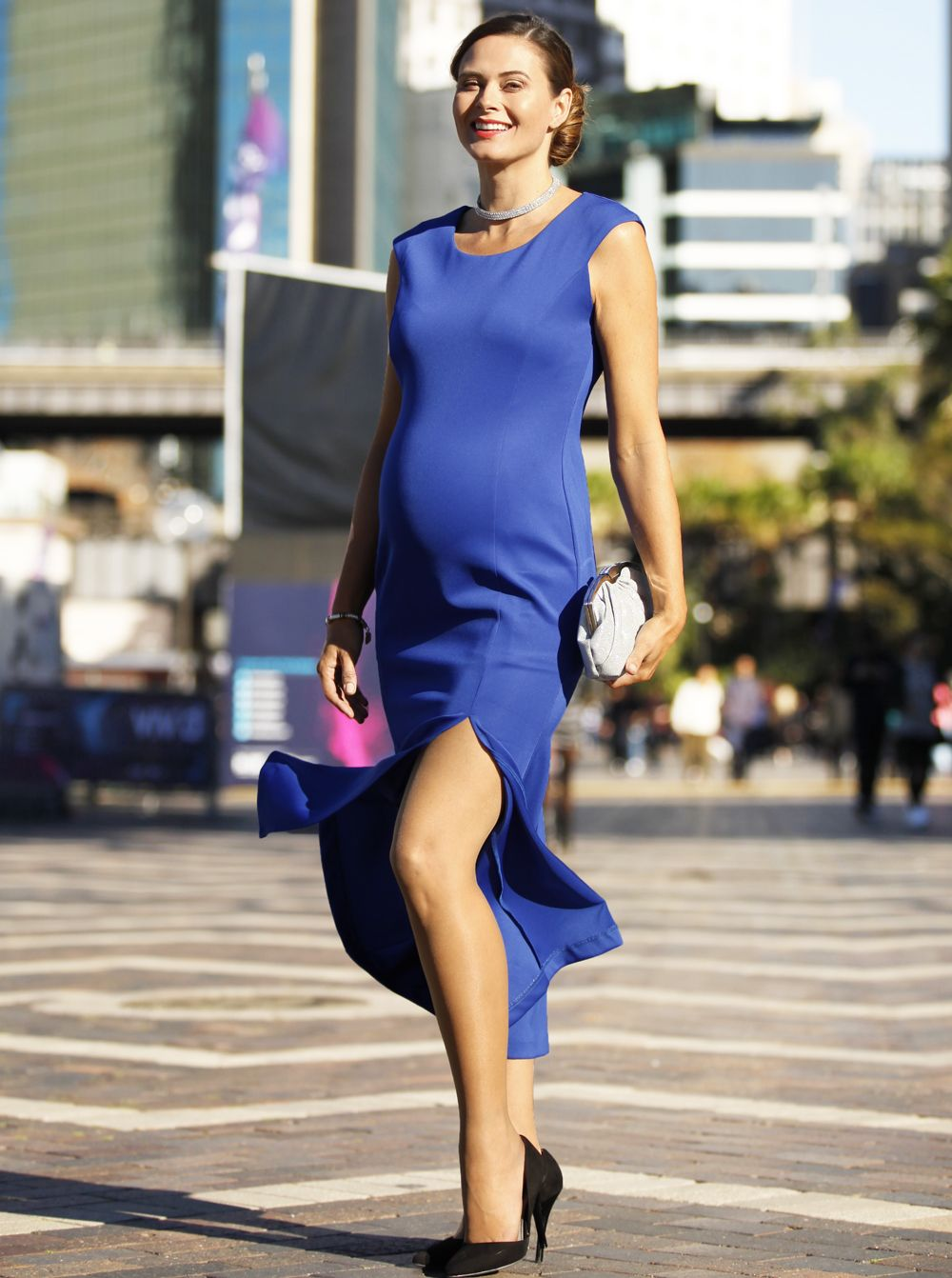34c77f6452b Dress To Impress Maternity Formal Party Gown - Blue