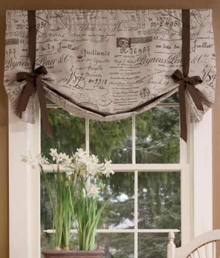 Parisian Note Lined Tie Up Valance Laundry Room Curtains