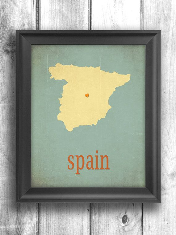 Spain print Typography poster map art digital print wall sign choose ...
