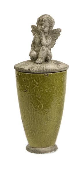 Large Decorative Urns With Lids Sandra Large Green Angel Canister With Lid  Accent Decorative