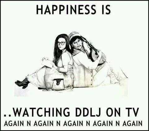 Happiness is...watching DDLJ on Netflix. Again and again and again ...