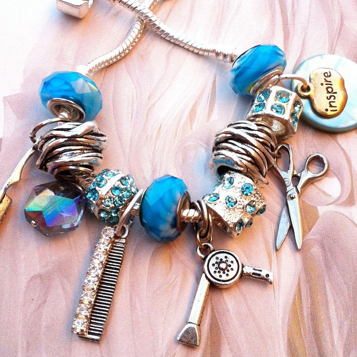 Hairstylist Style  Hairstylist Hair Artist Funky Pandora Style Charm  Braceletsilverblue