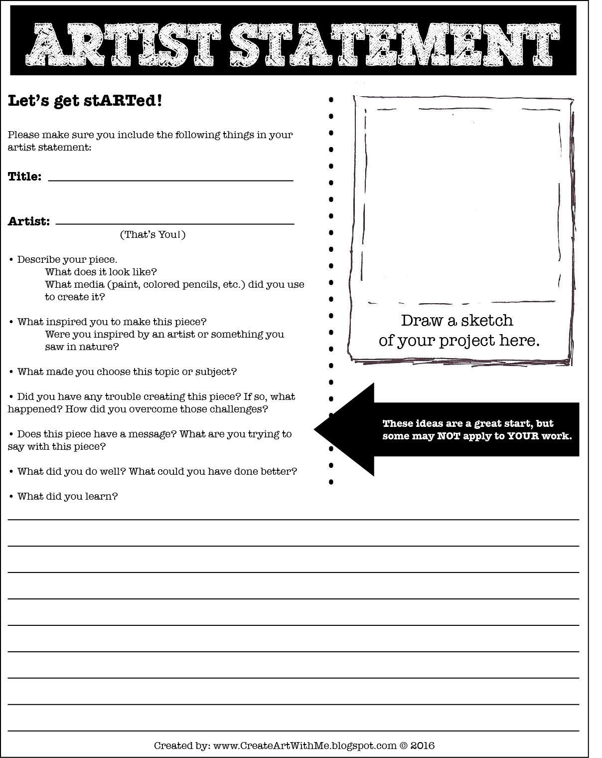 Help Your Students Learn To Self Assess And Respond To Their Artwork Create Art With Me