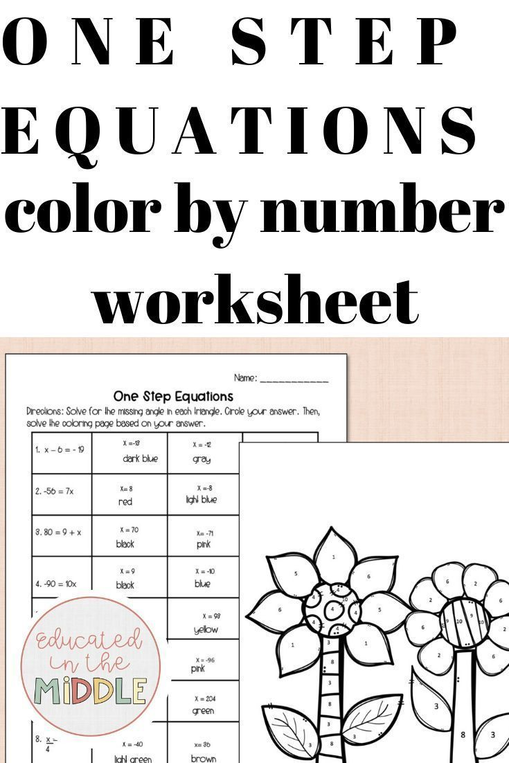 One Step Equation Worksheet: Color by Number fun activities to solve one step equations in middle s