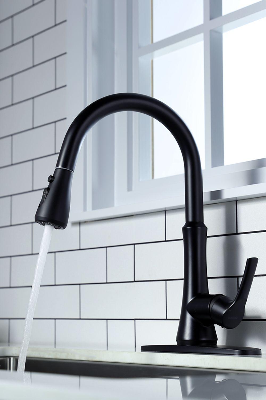 Matte Black Pull Down Kitchen Faucet In 2020 Black Kitchen Faucets Matte Black Kitchen Faucet Kitchen Faucet